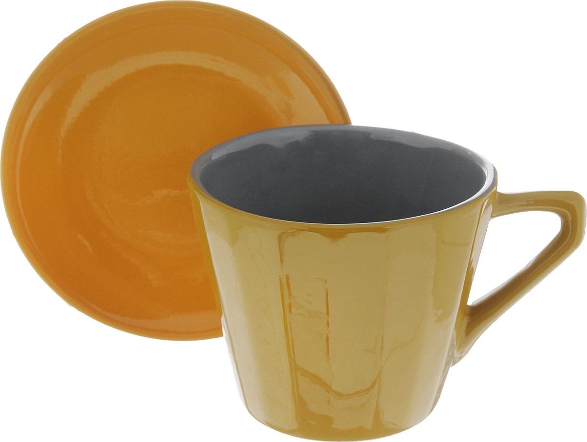 Чайная пара Борисовская керамика Ностальгия, цвет: горчичный, желтый, 200 мл чайная пара борисовская керамика ностальгия цвет темно фиолетовый голубой 200 мл