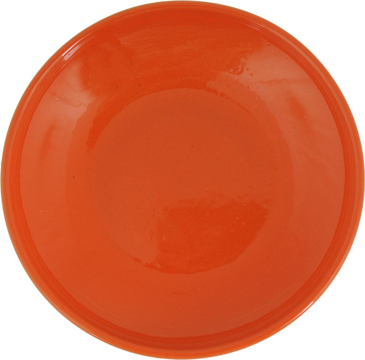 """Блюдце Борисовская керамика """"Радуга"""", цвет: оранжевый, диаметр 10 см"""