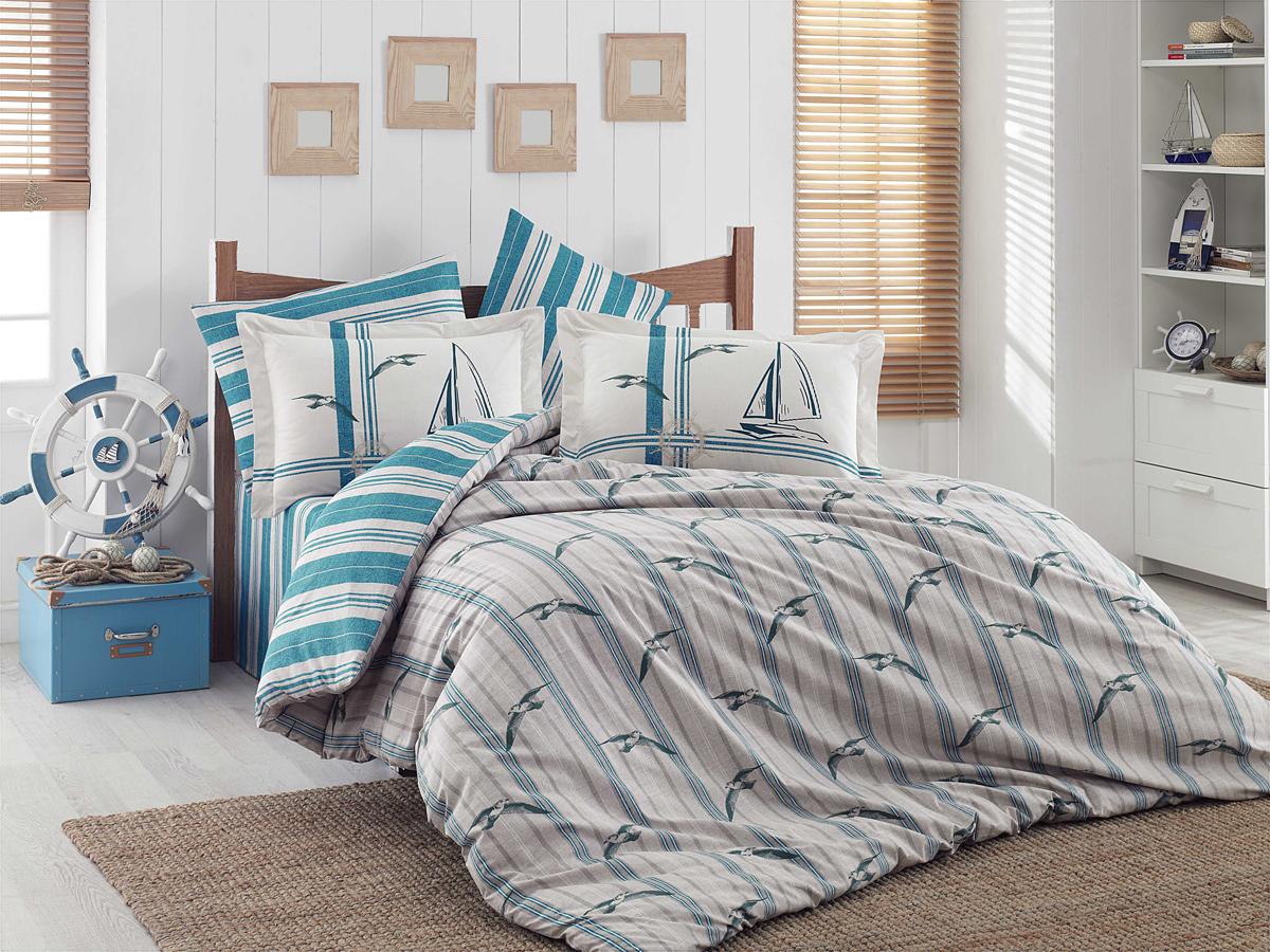 """Комплект белья Hobby Home Collection """"Marinella"""", 1,5-спальный, наволочки 50x70, 70х70, цвет: бирюзовый"""