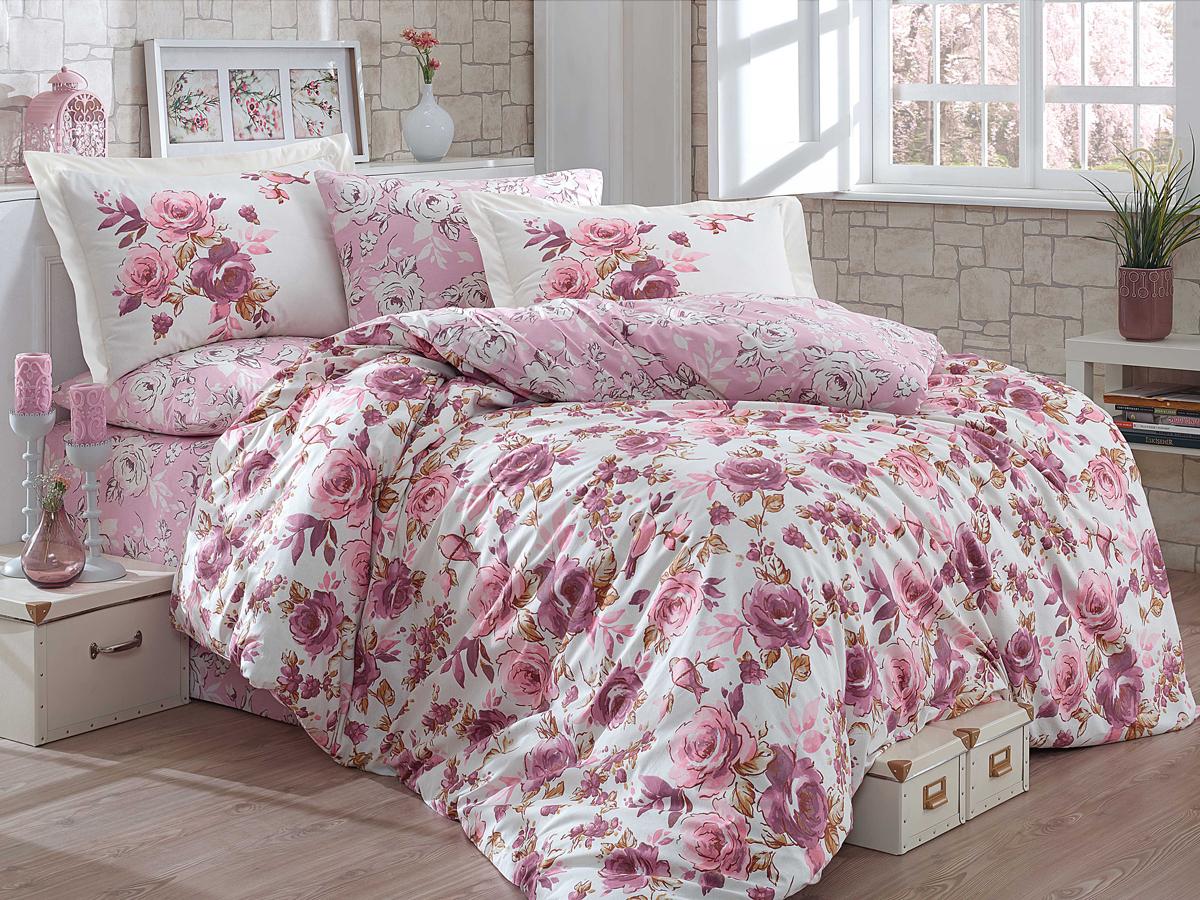 Комплект белья Hobby Home Collection Alessia, евро, наволочки 50x70, 70х70, цвет: пудровый цена
