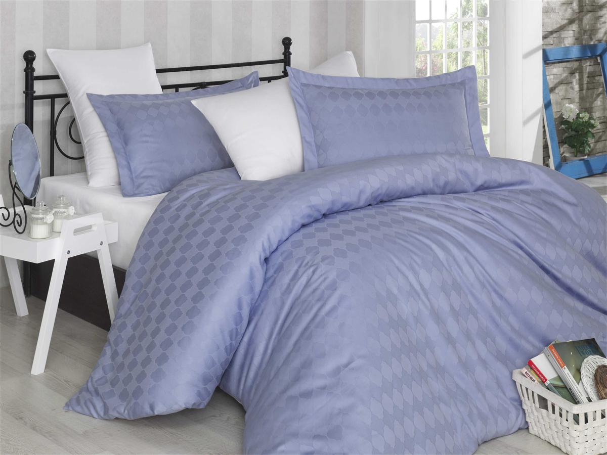 """Комплект белья Hobby Home Collection """"Bulut"""", 1,5-спальный, наволочки 50x70, 70х70, цвет: лиловый, белый"""