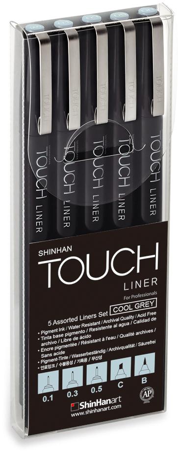 Touch Набор капиллярных ручек Liner цвет чернил холодный серый 3 шт
