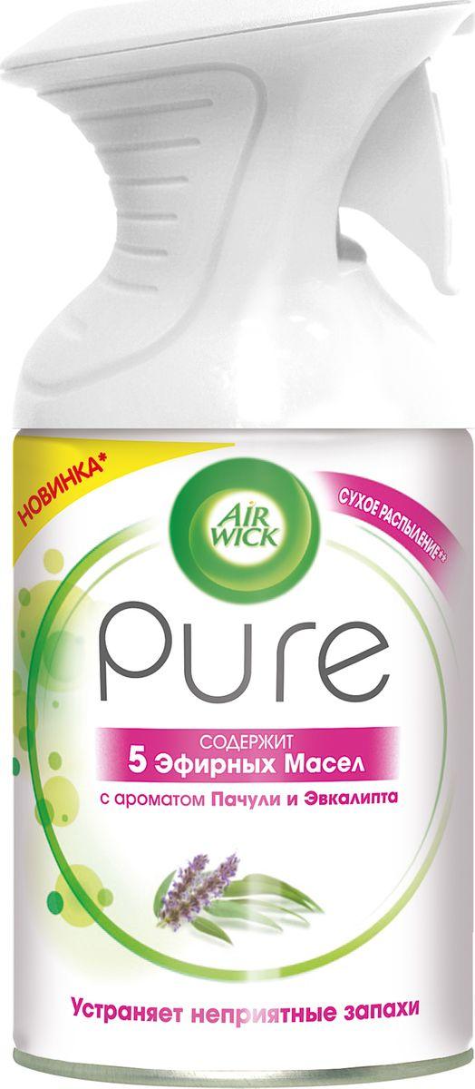 Освежитель воздуха AirWick Pure 5 эфирных масел, пачули и эвкалипт, 250 мл освежитель воздуха airwick pure 5 эфирных масел цветущий лимон 250 мл
