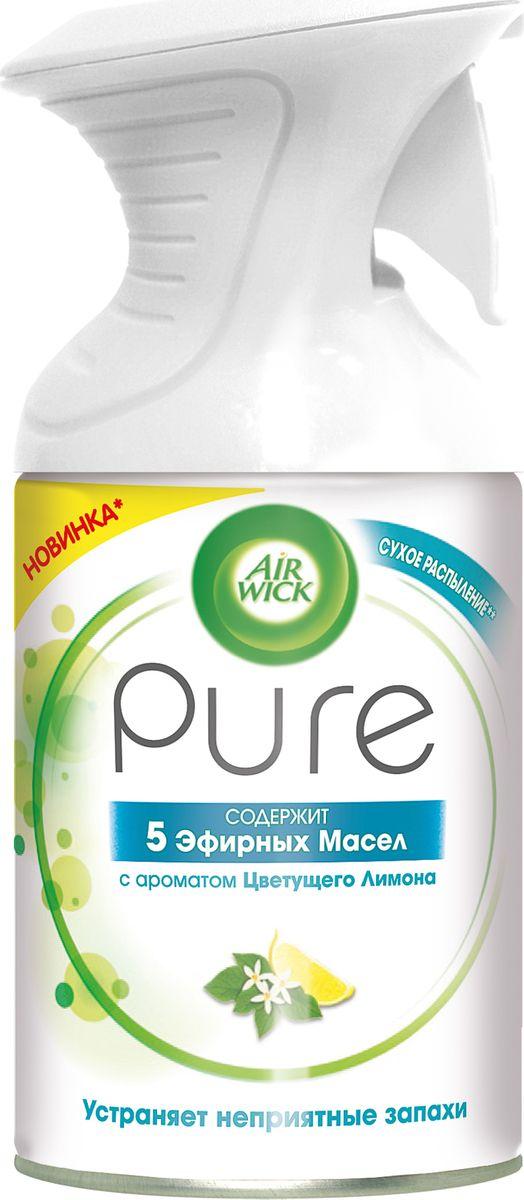 Освежитель воздуха AirWick Pure 5 эфирных масел, цветущий лимон, 250 мл сменный баллон 5 эфирных масел цветущий лимон pure airwick 250 мл