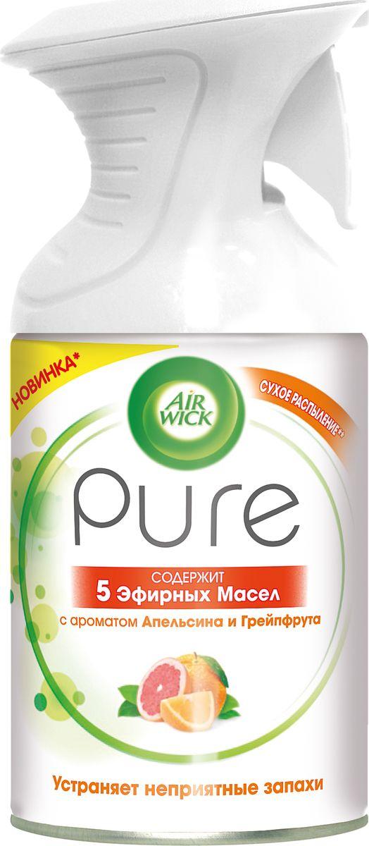 Освежитель воздуха AirWick Pure 5 эфирных масел, апельсин и грейпфрут, 250 мл освежитель воздуха airwick pure 5 эфирных масел цветущий лимон 250 мл
