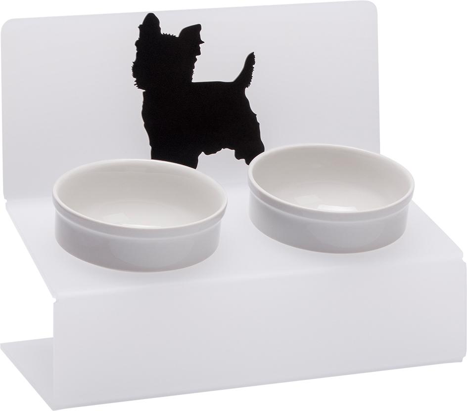 Миска для животных Artmiska Йорк, двойная, на подставке, цвет: белый, полупрозрачный, 2 x 350 мл артмиска миска для животных artmiska кот и рыбы двойная на подставке кремовая 2 шт x 350 мл