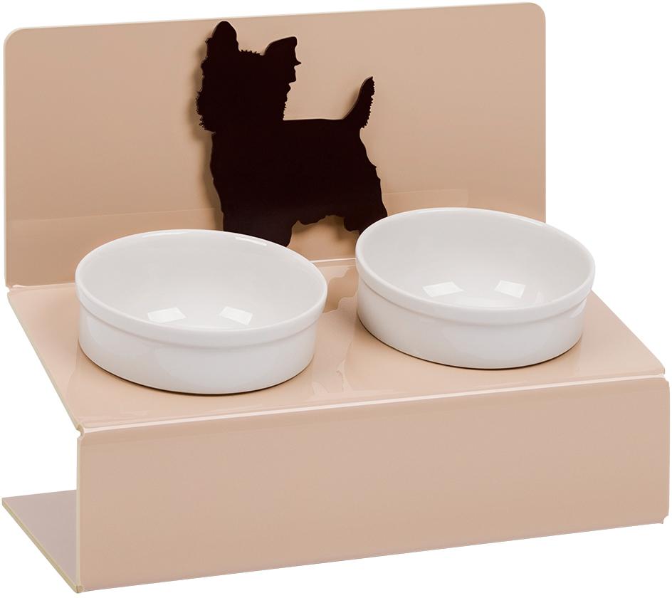 Миска для животных Artmiska Йорк, двойная, на подставке, цвет: кремовый, 2 x 350 мл артмиска миска для животных artmiska кот и рыбы двойная на подставке кремовая 2 шт x 350 мл