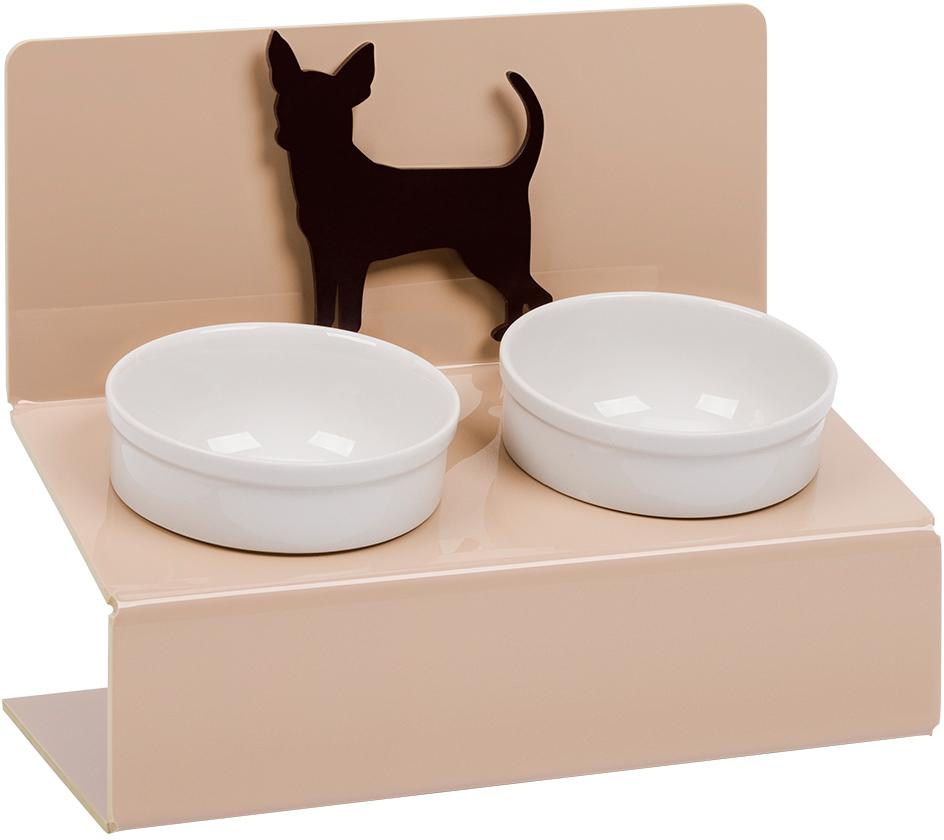 Миска для животных Artmiska Чихуахуа, двойная, на подставке, цвет: кремовый, 2 x 350 мл артмиска миска для животных artmiska кот и рыбы двойная на подставке кремовая 2 шт x 350 мл