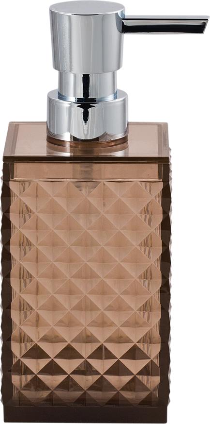 Диспенсер для мыла Swensa Rapas, цвет: коричневый, 250 млSWP-0660BR-AПластиковый дозатор для жидкого мыла из коллекции Swensa Rapas станет завершающим аккордом в оформлении ванной комнаты. Изящный узор на флаконе внесет нотки изысканности. Сочетание материалов прекрасно подойдет под любой стиль, в котором выполнена ванная комната. Насадка- дозатор специально изготовлена для предотвращения попадания микробов с рук в емкость.