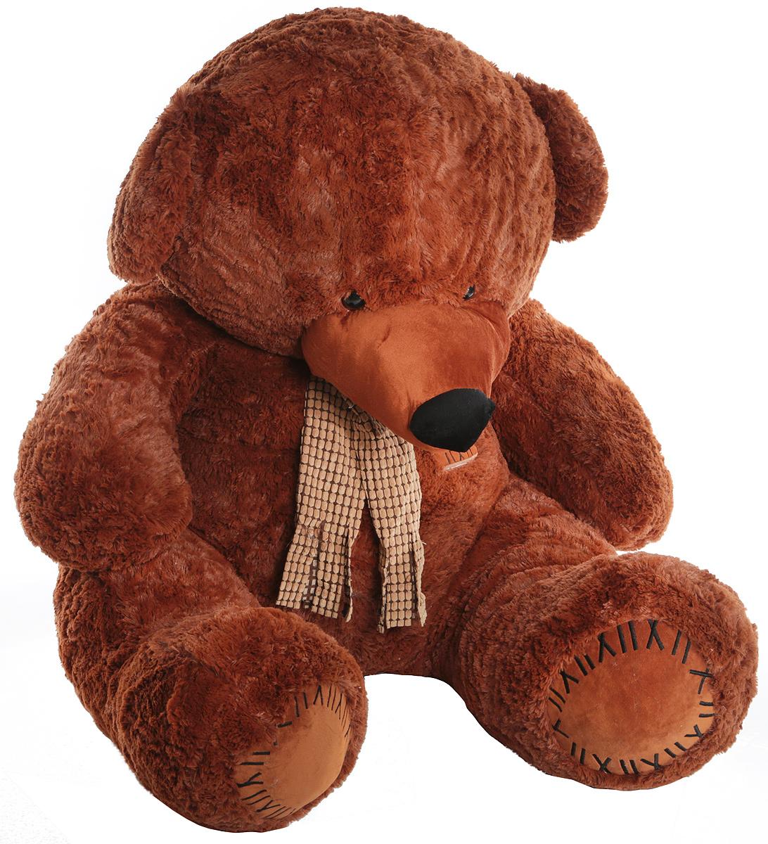 Magic Bear Toys Мягкая игрушка Медведь с заплатками в шарфе цвет коричневый 120 см стоимость