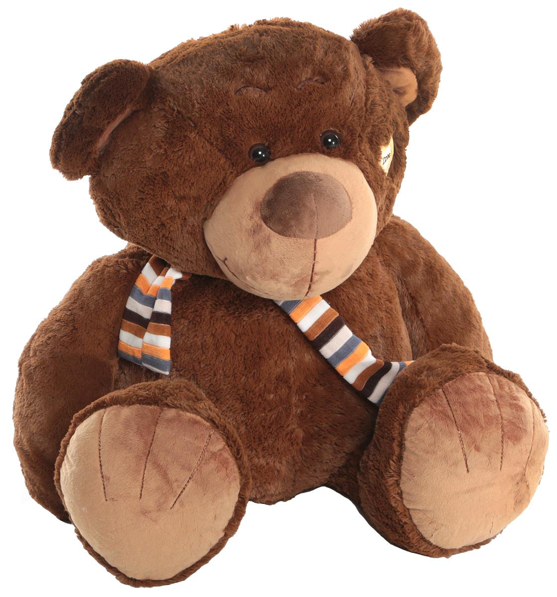 Magic Bear Toys Мягкая игрушка Медвежонок в шарфе цвет коричневый 80 см цена
