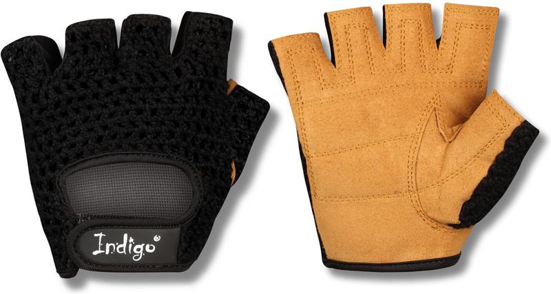 """Перчатки атлетические """"Indigo"""", цвет: черный, коричневый. Размер S"""
