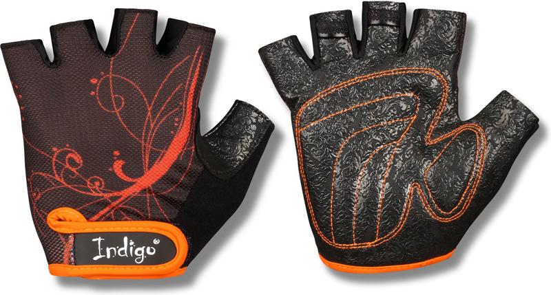 """Перчатки атлетические """"Indigo"""", цвет: черный, оранжевый. Размер M"""