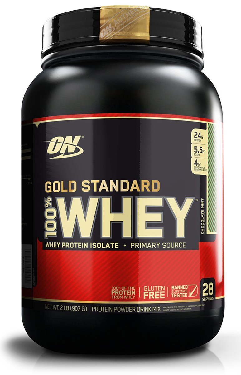 Протеин Optimum Nutrition 100% Whey Protein Gold Standard, мятный шоколад, 900 г цена