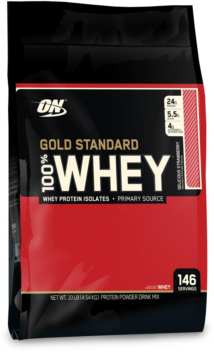 цена на Протеин Optimum Nutrition 100% Whey Protein Gold Standard, клубника, 4,535 кг
