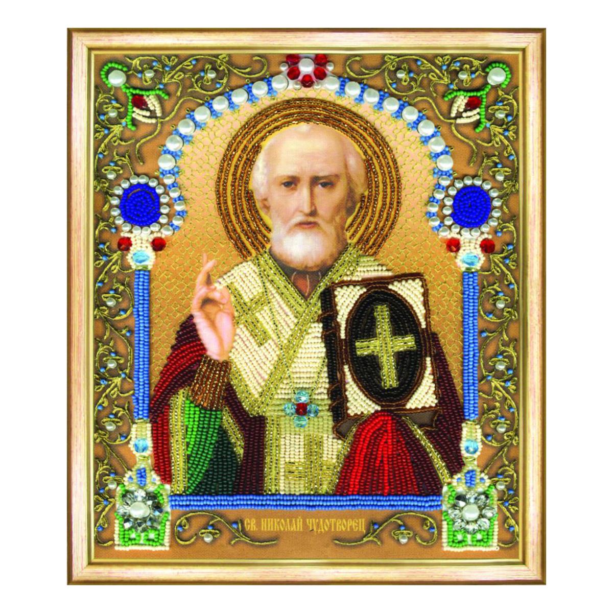 Набор для вышивания бисером Чарівна Мить Икона святителя Николая Чудотворца, 20,5 х 24 см икона юлия бисер