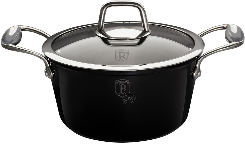 """Кастрюля Berlinger Haus """"Black Royal"""", с крышкой, антипригарное покрытие, цвет: черный, 2,5 л"""