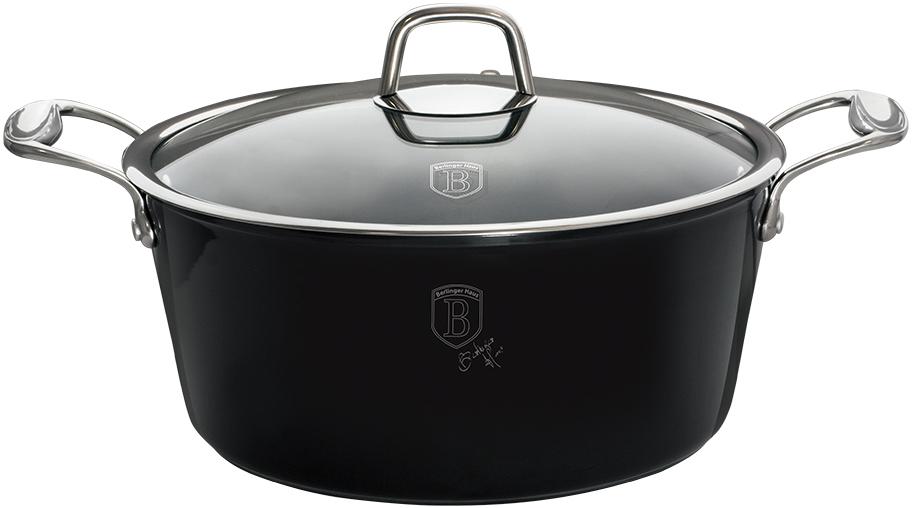 """Кастрюля Berlinger Haus """"Black Royal"""", с крышкой, антипригарное покрытие, цвет: черный, 4,1 л"""