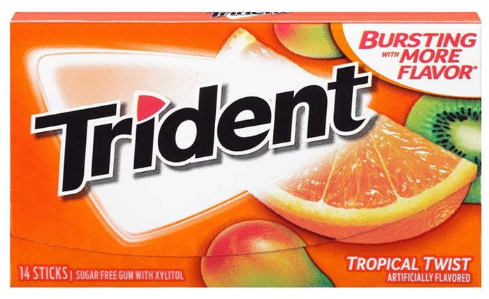Trident Tropical Twist жевательная резинка, 25,2 г жевательная резинка со вкусом клубники вкусная помощь родился сам помоги другому 34 г