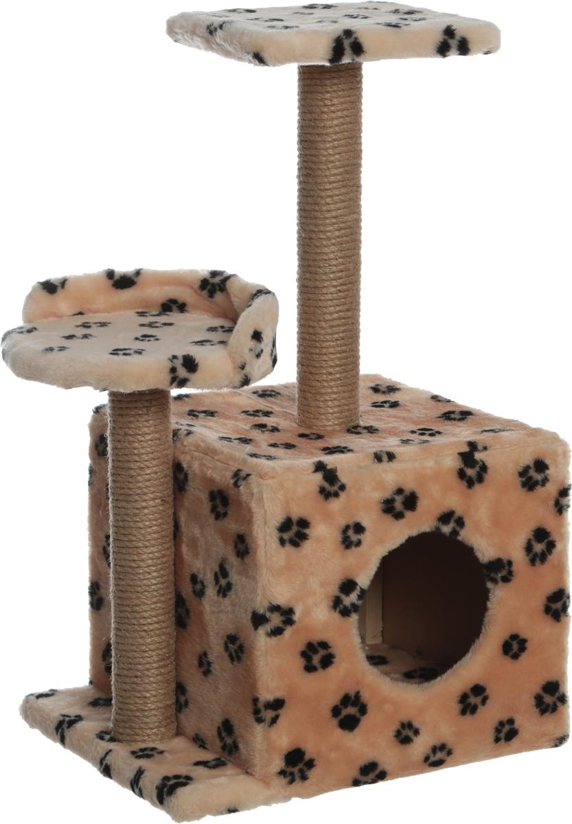 Игровой комплекс для кошек Меридиан, с домиком и когтеточкой, цвет: в ассортименте, 35 х 45 х 75 см игровой комплекс для кошек меридиан с домиком и когтеточкой цвет светло коричневый бежевый 35 х 45 х 75 см