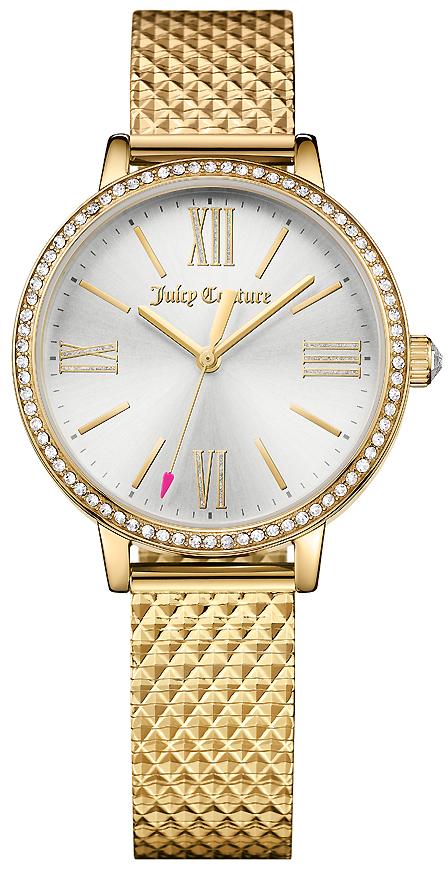 Часы наручные женские Juicy Couture, цвет: золотой. 19016131901613Женские наручные часы Juicy Couture имеют 3-стрелочный кварцевый механизм. Модель в круглом корпусе выполнена из нержавеющей стали с покрытием золотистого цвета. Размер корпуса 34 мм. Циферблат, защищенный минеральным стеклом, имеет индикацию римскими цифрами и отметками. Безель и заводная головка инкрустированы кристаллами. Секундная стрелка имеет указатель в виде сердца. Браслет снабжен удобной застежкой.