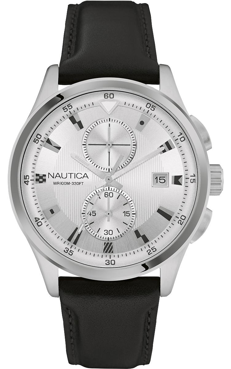 Часы наручные мужские Nautica, цвет: черный. NAD16556GNAD16556GКварцевый механизм, хронограф, 3 стрелки, корпус из нержавеющей стали, D=44 мм, серый циферблат, закаленное минеральное стекло, черный ремешок из натуральной кожи. WR=100 м
