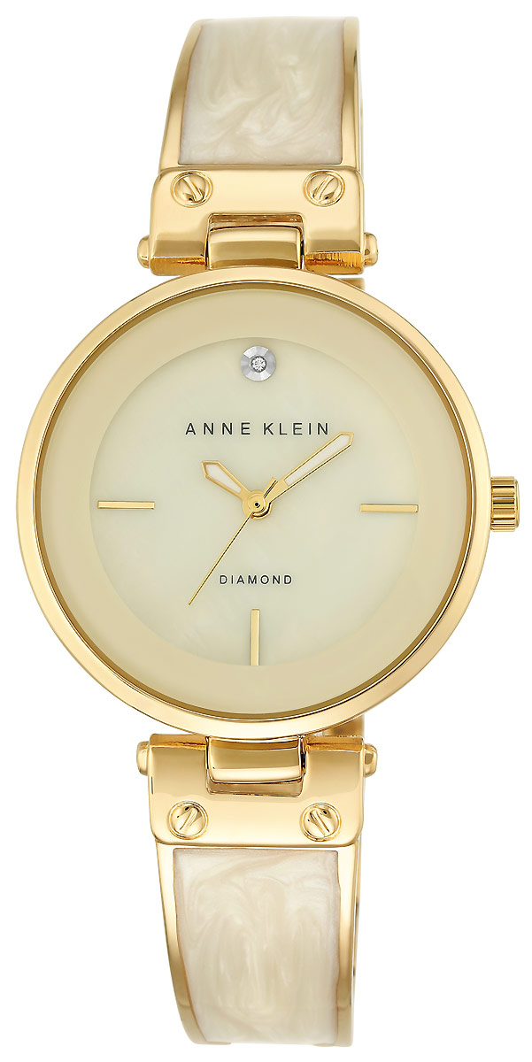 Часы наручные женские Anne Klein, цвет: бежевый, золотистый. 2512 IVGB все цены