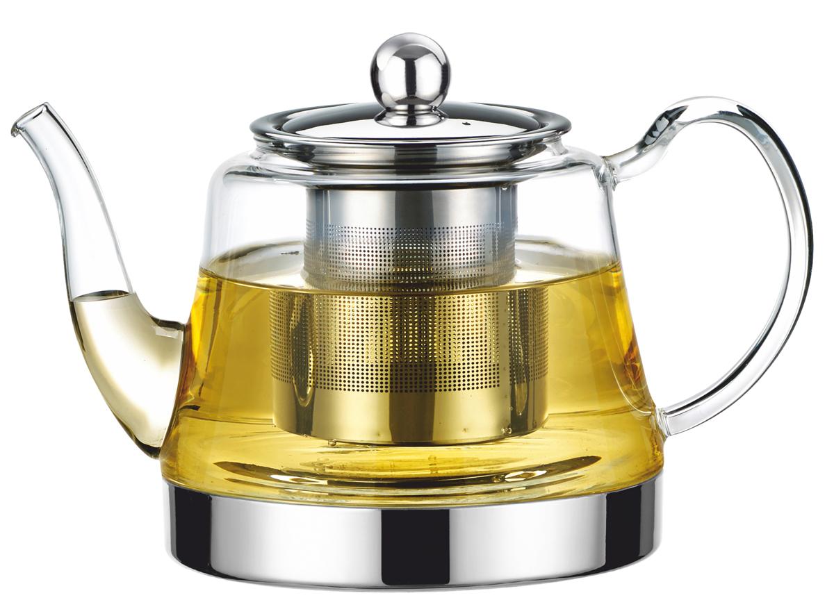 Чайник заварочный Vitesse, с фильтром, цвет: прозрачный, 900 мл. VS-4008 чайник заварочный vitesse с фильтром цвет прозрачный 800 мл vs 4010