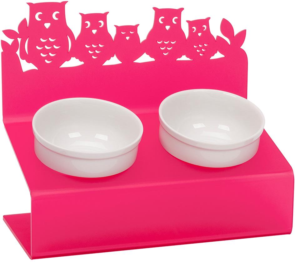 Миска для животных Artmiska Совы, двойная, на подставке, цвет: малиновый, 2 x 350 мл артмиска миска для животных artmiska кот и рыбы двойная на подставке кремовая 2 шт x 350 мл