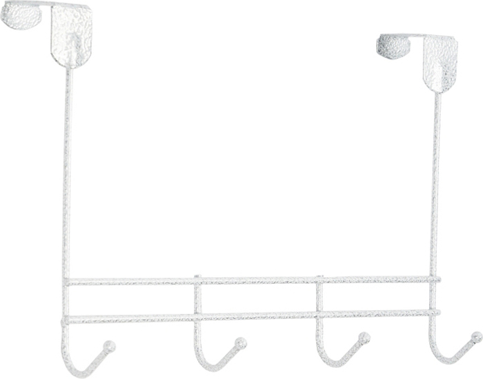 Вешалка надверная ЗМИ Нота, 4 крючка, цвет: белый, серебристый, 32,6 х 8 х 20,5 см вешалка надверная зми нота 4 металическая цельносварная четыре крючка цвет медный антик