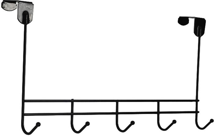 Вешалка надверная ЗМИ Нота, 5 крючков, цвет: черный, 42,6 х 8 х 20,5 см вешалка надверная зми нота 4 металическая цельносварная четыре крючка цвет медный антик