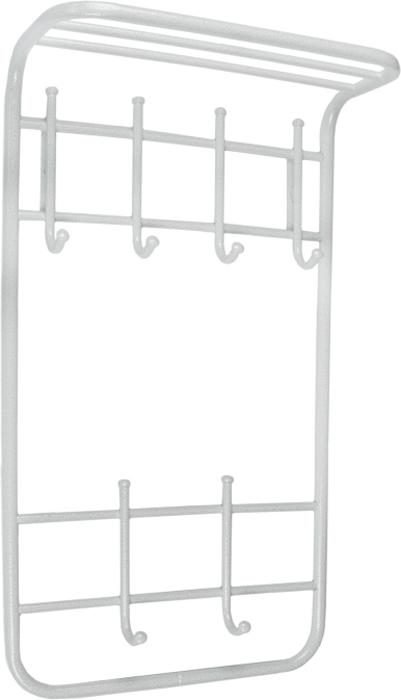 Вешалка настенная ЗМИ, 2 ярусная, с полкой, белый, серебристый антик, 40 см вешалка надверная зми нота 4 металическая цельносварная четыре крючка цвет медный антик