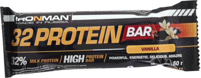 Батончик протеиновый Ironman 32 Protein, ваниль, темная глазурь, 50 г