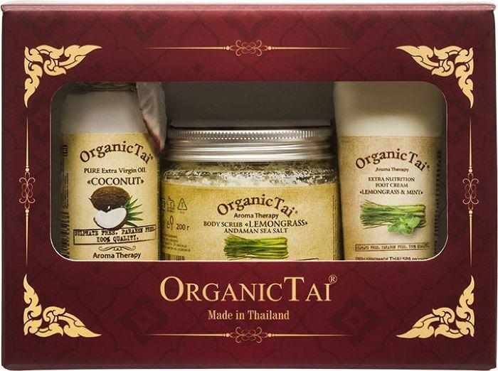 OrganicTai Косметический набор: Скраб для тела на основе соли Андаманского моря Лемонграсс, 200 г + Чистое базовое масло Кокоса холодного отжима 120 мл + Экстраувлажняющий крем для ног Лемонграсс и мята, 60 мл