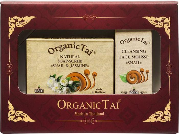 OrganicTai Косметический набор: Пенка для умывания с экстрактом улитки, 60 мл + Натуральное Мыло-скраб с экстрактом улитки и жасмином, 100 г