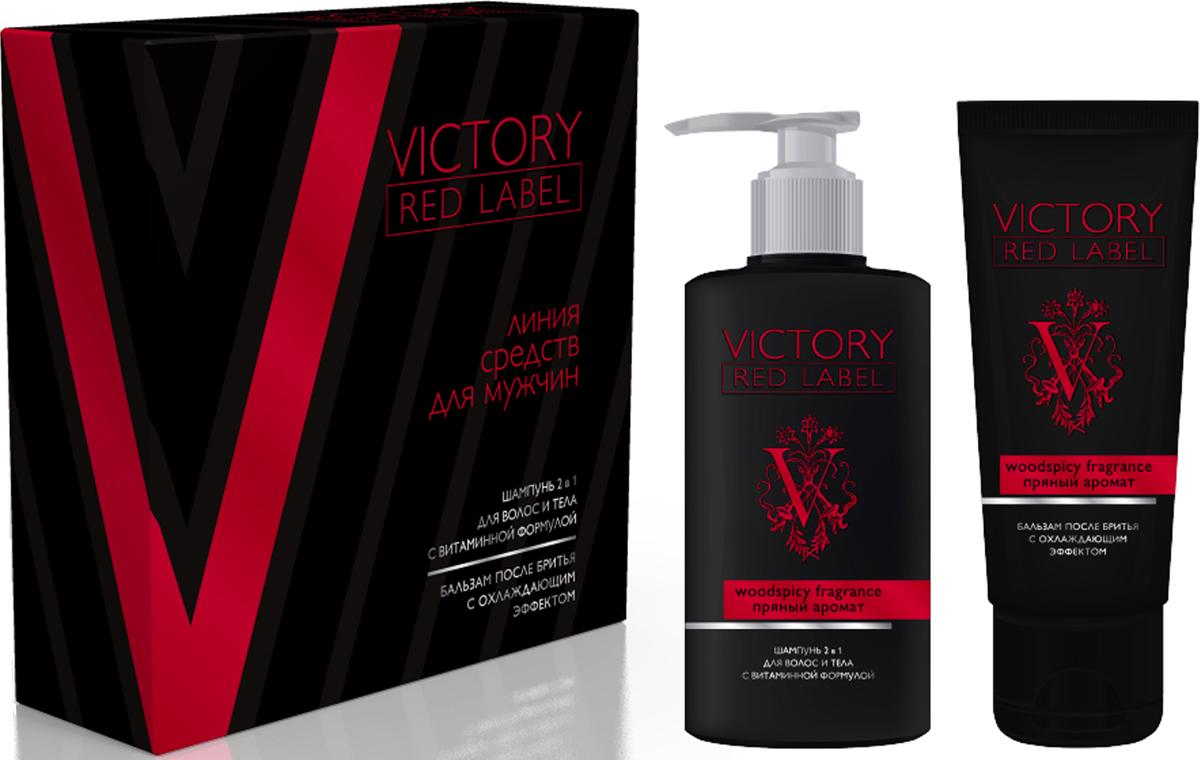 Q.P. Victory Red Label Woodspicy Fragrance: Шампунь 2в1, 320 мл + Бальзам после бритья охлаждающий, 100 мл шампунь бальзам 2в1 для волос укрепляющий 1 л