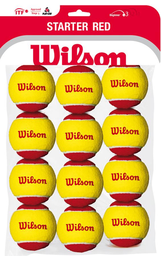 Мячи для тенниса Wilson Starter Red Tball 12 PackWRT137100Облегченные теннисные мячи для детей 10 лет и младшеСозданы специально для игры на детских кортах. На 75% меньше скорость отскока, чем у стандартных мячей с большим диаметром. В упаковке 12 мячей.