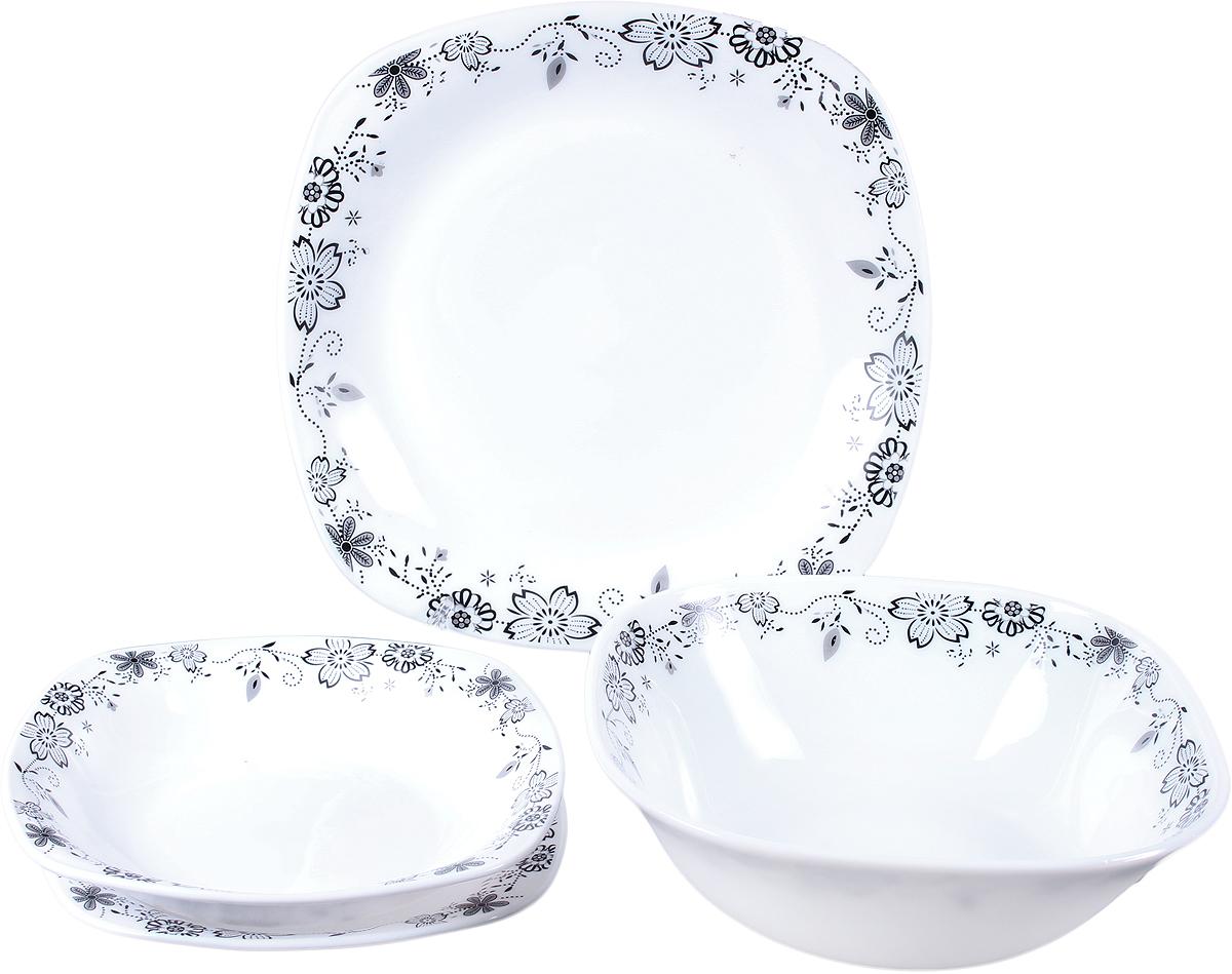 """Набор столовой посуды Olaff """"Черные Цветы"""", 19 предметов. JY-S-19-08"""