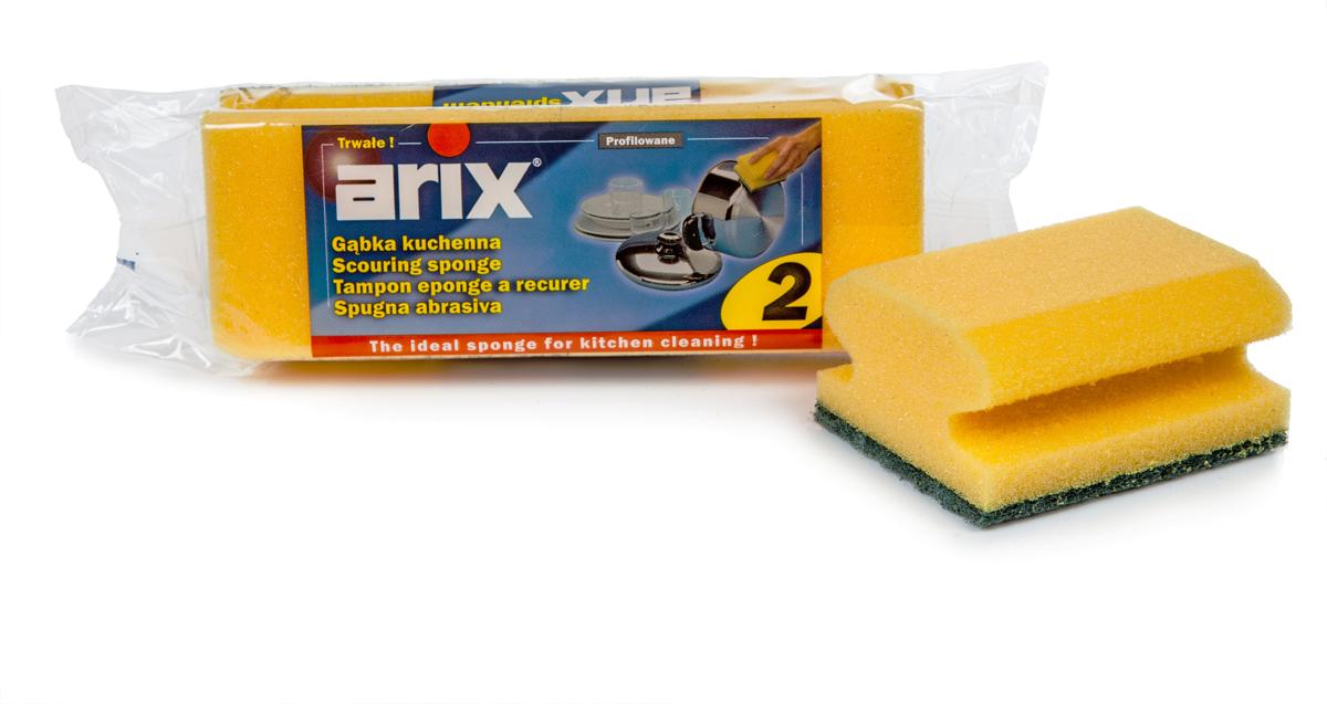 Губка для мытья посуды Arix, цвет в ассортименте, 2 штAP1242Губки профилированные с фиброй. Удобная анатомическая выемка для пальцев, предохраняющая ногти от повреждений. Качественный поролон и фибра средней жесткости. Применяется для любой посуды вместе с моющими средствами либо без них. Промыть губку до и после каждого использования. Состав: поролон (пенополиуретан), фибра (полиэстер). Уважаемые клиенты! Обращаем ваше внимание на цветовой ассортимент товара. Поставка осуществляется в зависимости от наличия на складе.