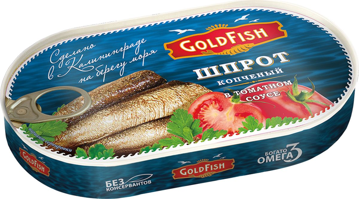Gold Fish Шпроты в томатном соусе, 175 г
