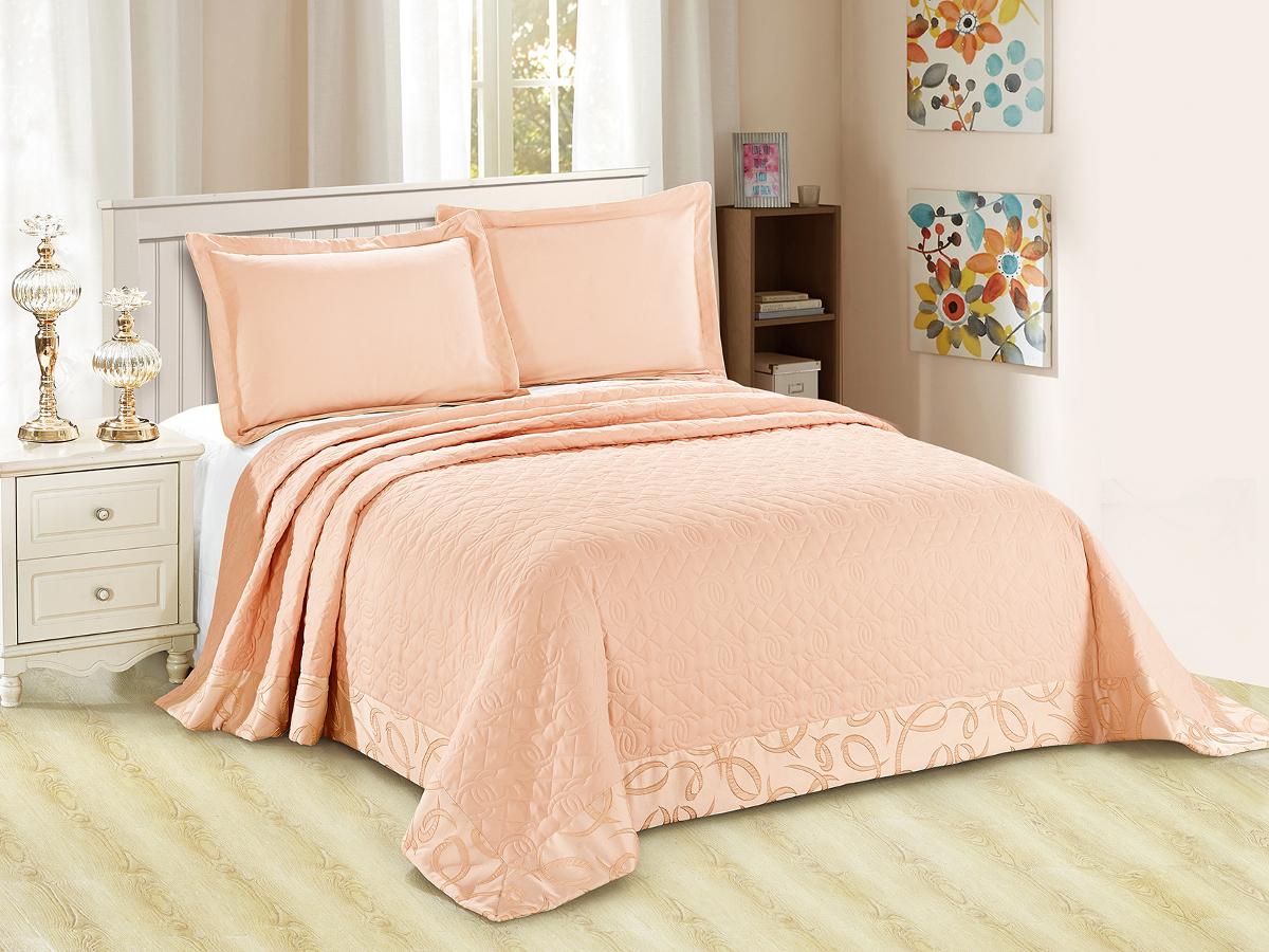 """Комплект для спальни Cleo """"Монифико"""": покрывало 220 х 240 см, 2 наволочки 50 х 70 см, цвет: оранжевый"""