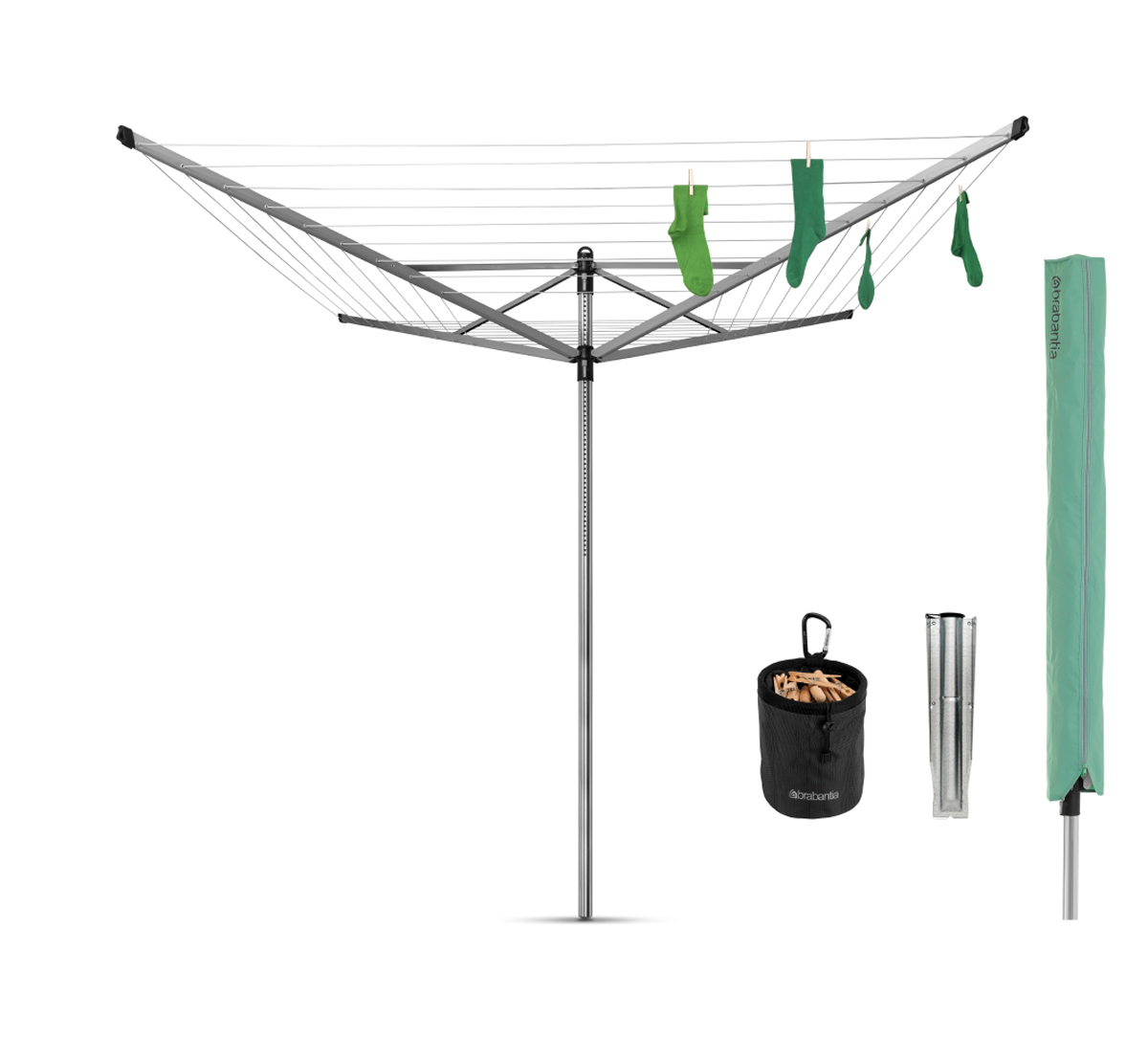 Сушилка Brabantia Lift-O-Matic, цвет: серый металлик, 60 м. 311321311321Навеска – 60 метров, максимальная нагрузка – 40 кг. Простой и удобный регулируемый «зонтичный» механизм сложения. Бесступенчатая регулировка на нужную высоту (129-187 см). Нет необходимости обходить сушилку – направляющие плавно поворачиваются. Всегда туго натянутые веревки – регулировка натяжения в трех положениях. Нижнее положение идеально подходит для сушки подушек. Бельевые веревки устойчивы к действию УФ и имеют нескользящий профиль. При необходимости удобная замена каждой веревки по отдельности. На всех направляющих предусмотрены специальные отверстия для плечиков. Удобна в хранении – прочная петелька для подвешивания. В комплекте: чехол, мешок для прищепок, прищепки, металлическое основание для установки сушилки (диаметр 45). Металлическое основание позволяет устанавливать сушилку без бетона. Отдельно предлагается пластиковое основание для установки в бетон.