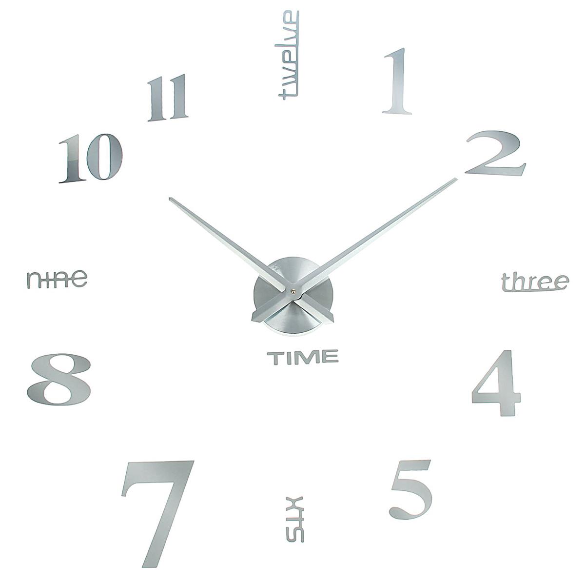 Часы-наклейка настенные DIY Объем модерн, цвет: серебро, 120 см diy b31d1f6f