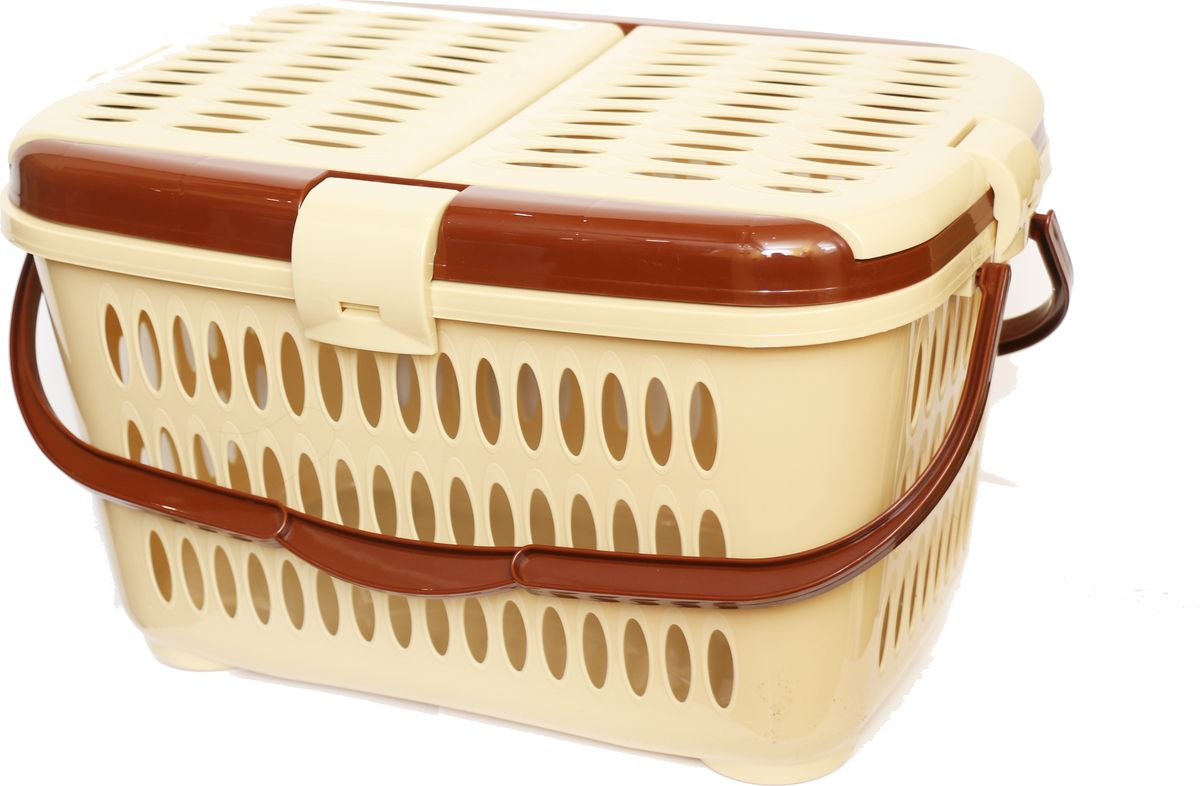 Корзина для пикника DD Style, цвет: коричневый, бежевый, 44 х 30 х 26 см03101_коричневый, бежевый