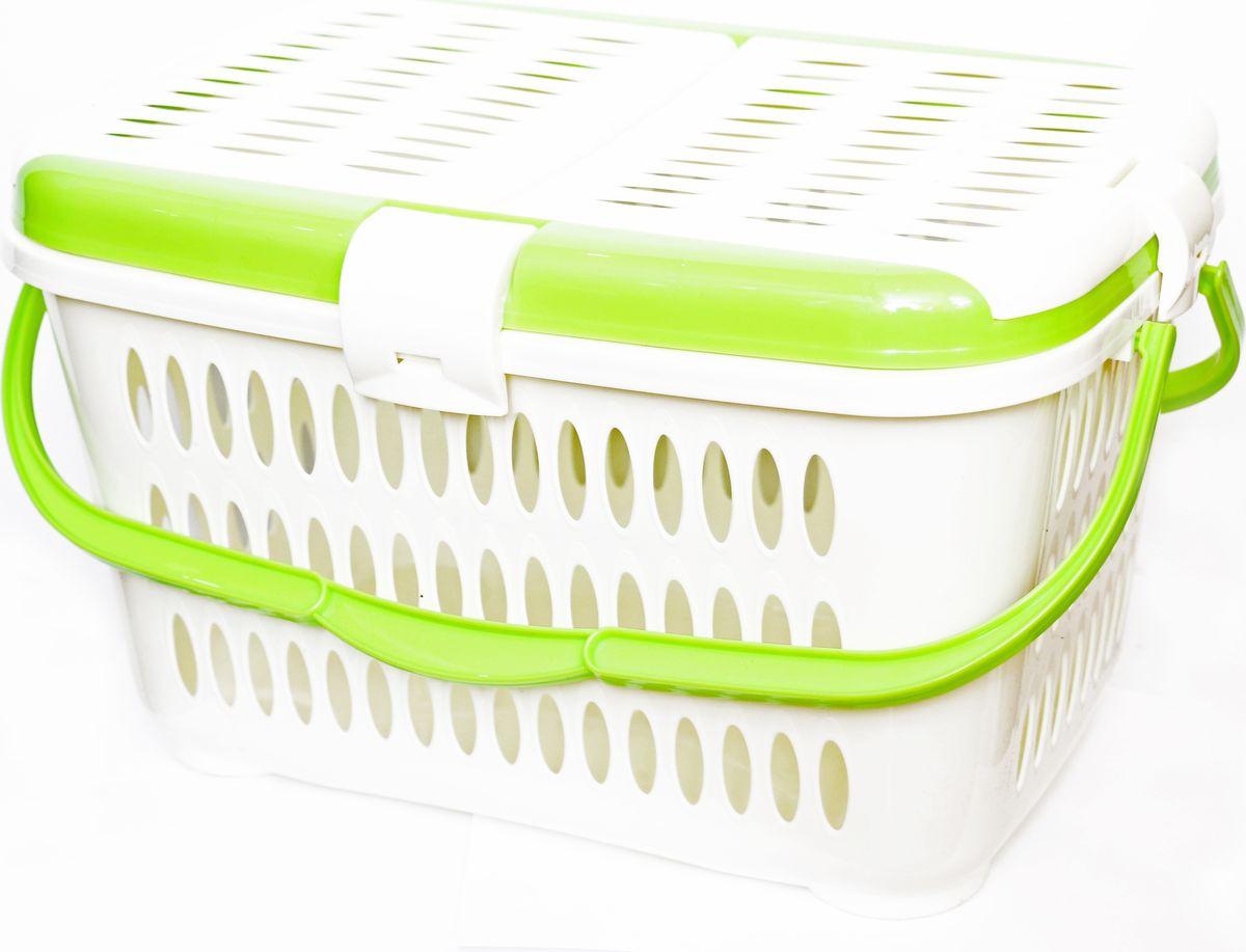 Корзина для пикника DD Style, цвет: зеленый, кремовый, 44 х 30 х 26 см контейнер giaretti цвет кремовый прозрачный 29 2 х 17 х 11 см