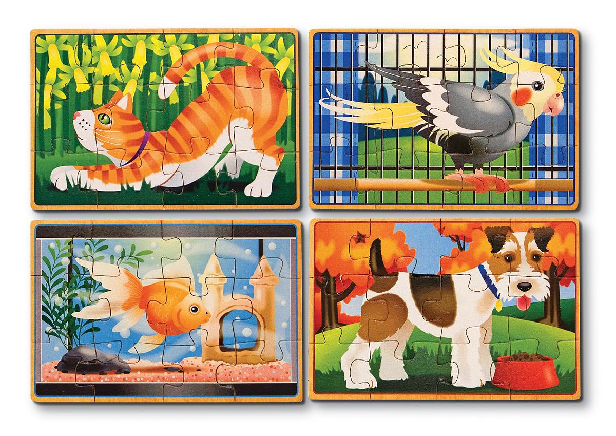 Melissa & Doug Пазл для малышей Домашние животные 4 в 1 пазл контур для малышей домашние животные в к 27 5 20 4 см