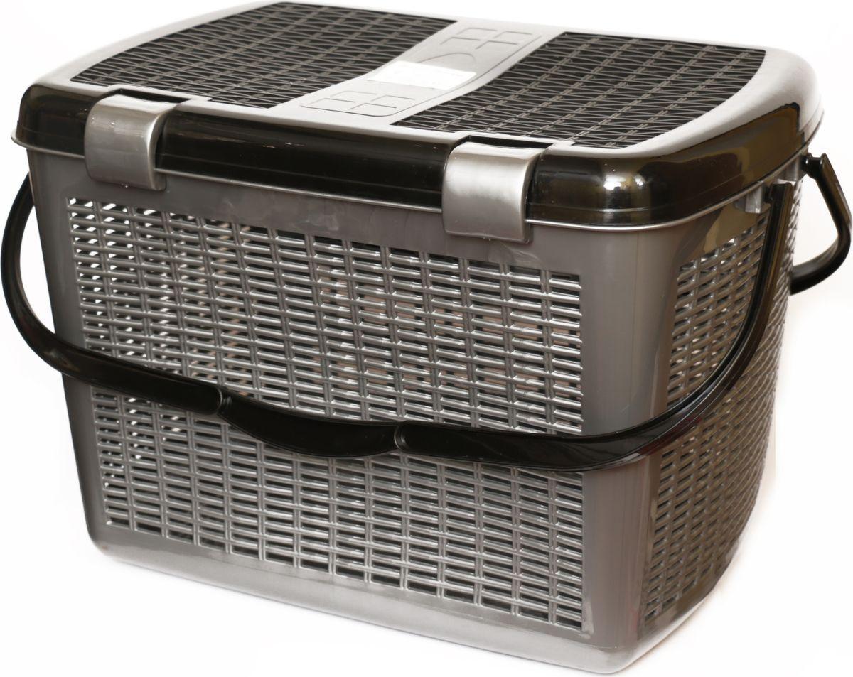 Корзина для пикника DD Style, цвет: черный, серебристый, 48 х 35 х 33 см03105_черный, серебристый