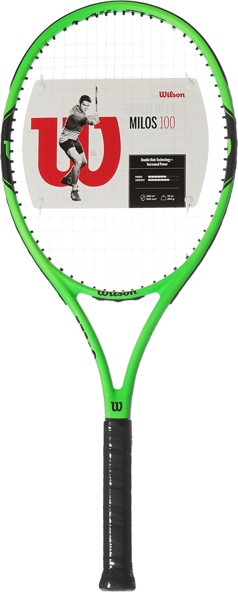 Ракетка теннисная Wilson Milos 100 Tns Rkt W/O Cvr 1WRT30040U1Milos 100 - это идеальный баланс контроля и мощи в каждом ударе, подходящий любому теннисисту. Яркий дизайн не оставит вас незамеченным на теннисном корте. Бренд Wilson - легенда большого тенниса. Это торговая марка с мировым именем. Ее продукцией пользуются известнейшие спортсмены - Филисиано Лопес, Серена Вильямс, Вера Звонарева, Виктория Азаренко.