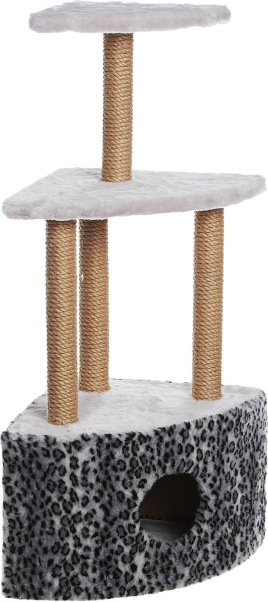 Домик-когтеточка Велес, угловой, 3-этажный, цвет: серый, 40 х 40 х 117 см велес а тайна горгульи