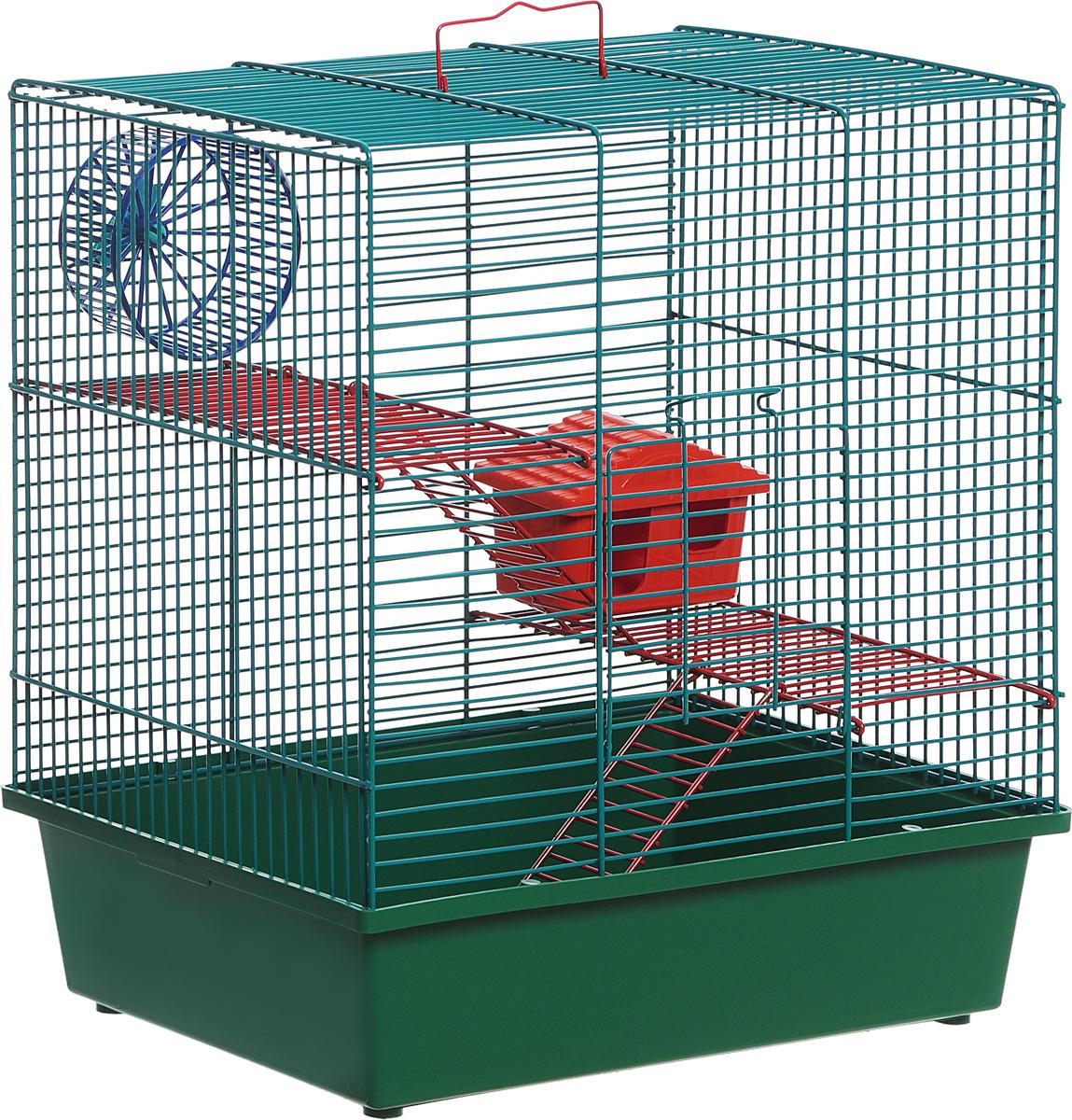 Клетка для грызунов Велес Lusy Hamster-3к, 3-этажная, цвет: зеленый, 35 х 26 х 40 см клетка для грызунов велес lusy 2 2 этажная цвет красный 30 х 42 х 25 см